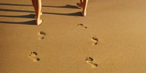 voetstap in zand